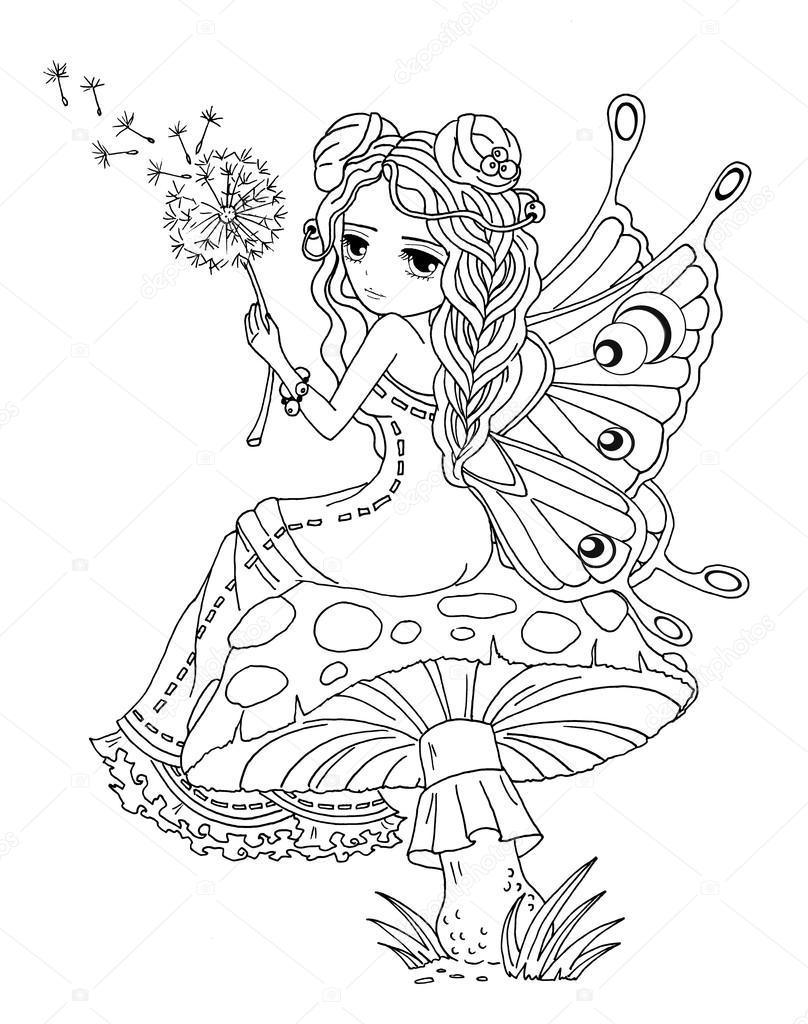 lady kelebek boyama sayfası — stok foto © larisakuzovkova