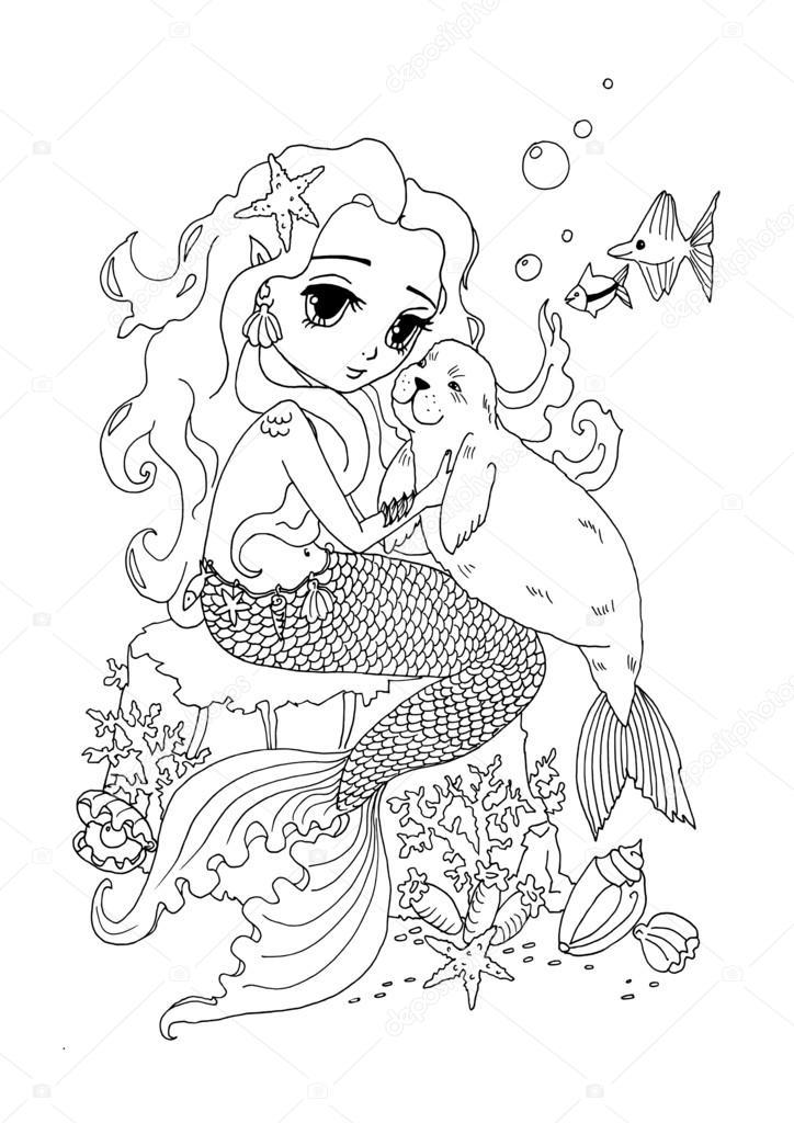 kleurplaat pagina the mermaid en zee stockfoto