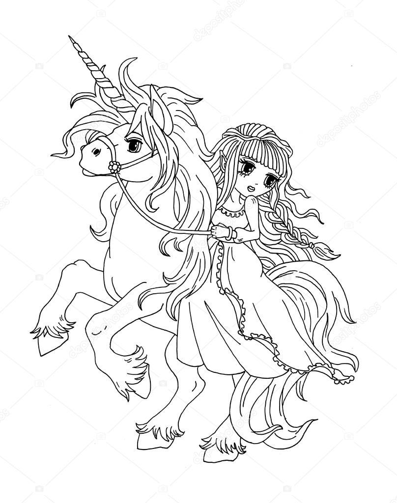 kleurplaat de prinses op de eenhoorn stockfoto