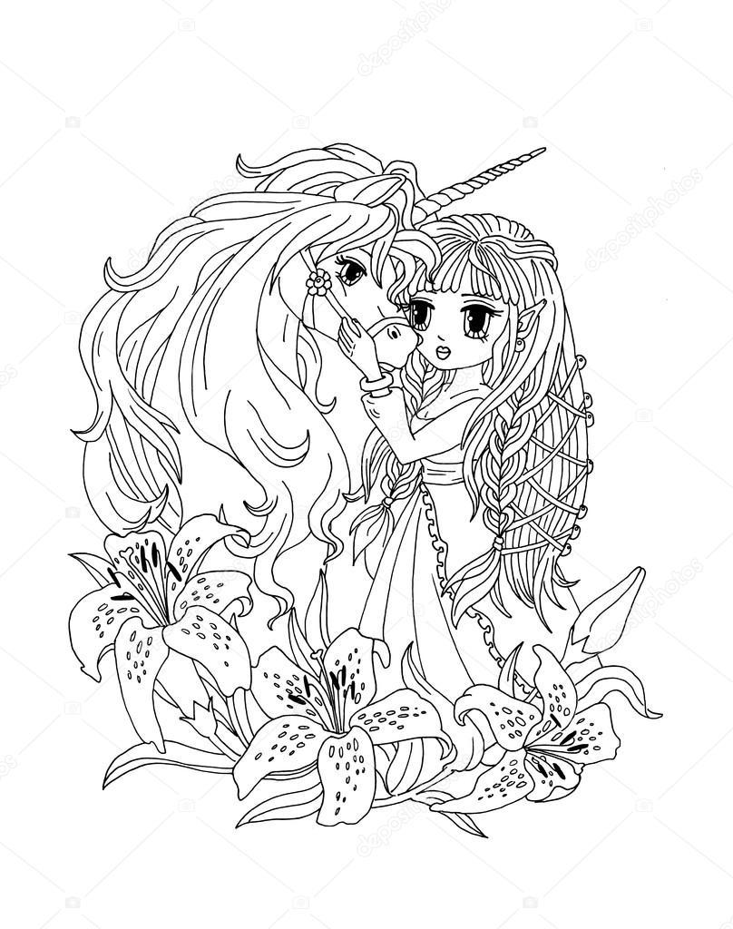 Kleurplaat De Eenhoorn En De Prinses In De Lelies Stockfoto