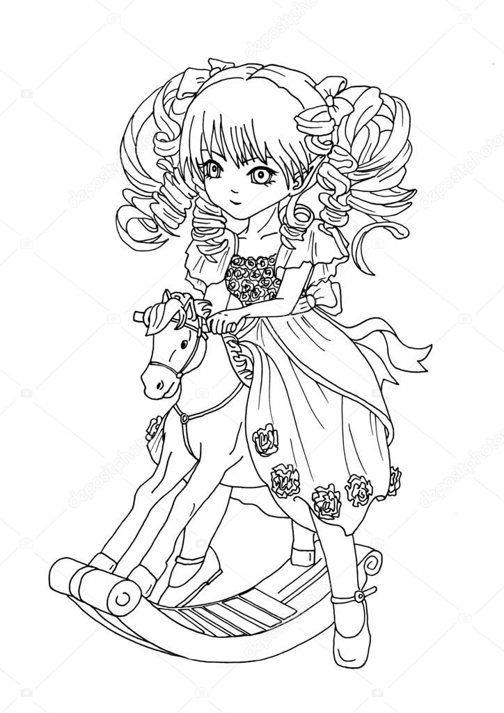 kleurplaat the op het speelgoed paard stockfoto