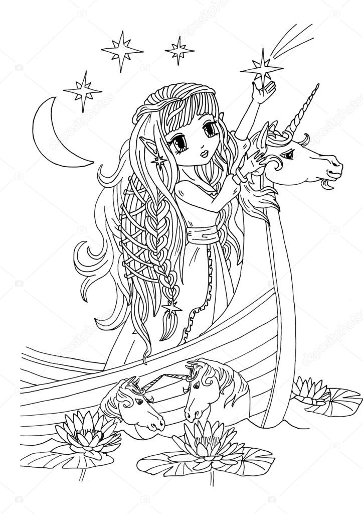Coloring Page The Lady On The Unicorn Boat Stock Photo