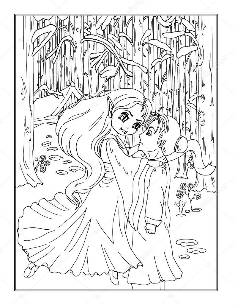 Página para colorear de la dama vampiro en el bosque — Fotos de ...