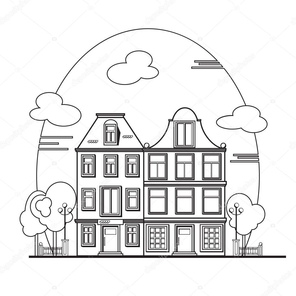 ヨーロッパの街並みアムステルダムの家 ストックベクター