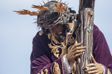 Jesus with the cross, Holy Week in Seville, brotherhood of San Roque