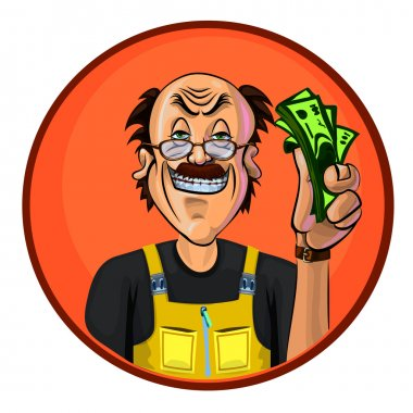Vector image of a workman with money