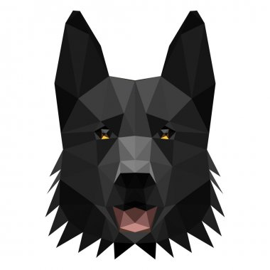 Vector low poly shepherd dog