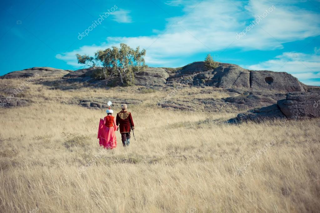 Couple in Kazakh national costumes