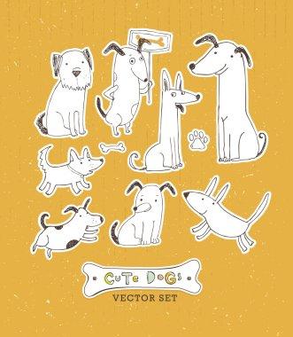 Cute Dogs Whimsical Handmade Sketch Vector Set on Cardboard Background clip art vector