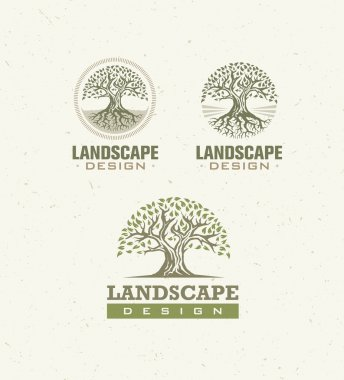 Landscape Design Creative Vector Concept. Trees With Roots Inside Circle Organic Sign Set On Craft Paper Background stock vector
