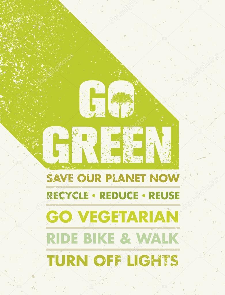 Go Green Motivation Poster
