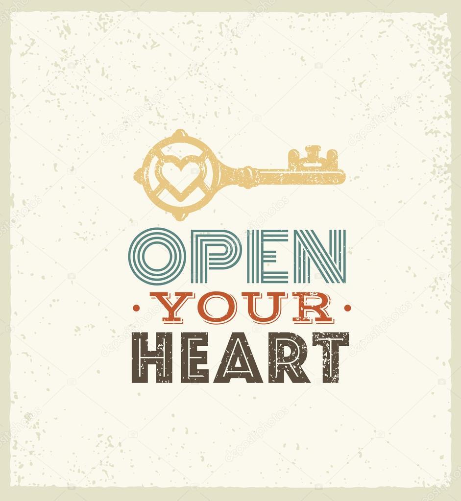 Abra su corazón motivación cotización — Vector de stock © wow ...