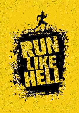Run Like Hell Motivation Sport Banner.