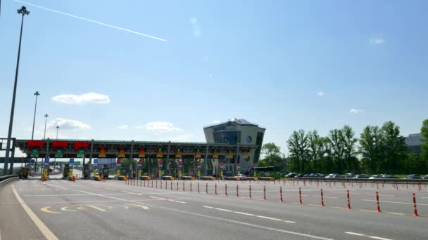 RUSSIA ST.PETERBURG- 28 MAY 2016: Highway Toll Booth timelapse. Car vehicle, truck and vans are passing the pay toll