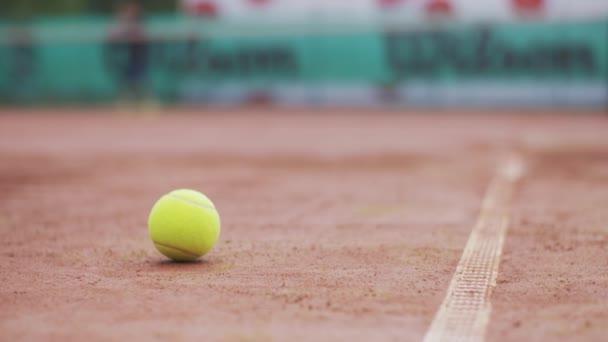 tenisový míč na hřišti a v pozadí mřížky