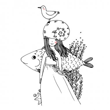 Girl, fish, seagulls, seaweed, starfish, ring.