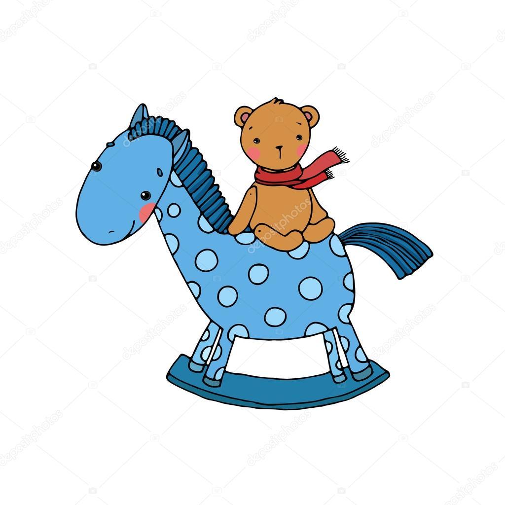 pferd und bär. kinderspielzeug — stockvektor © natasha_chetkova