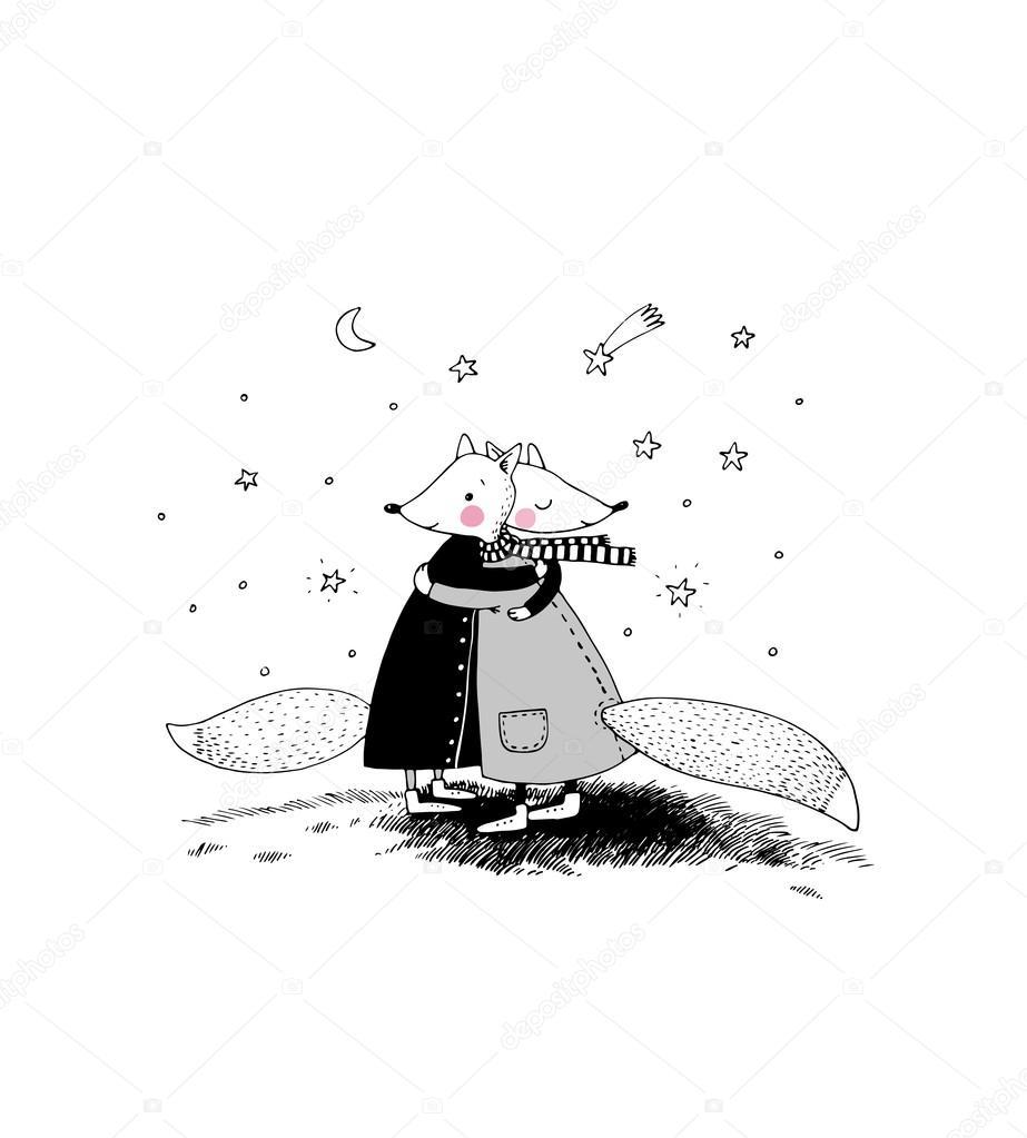 Füchse und Sterne auf weißem Hintergrund — Stockvektor ...