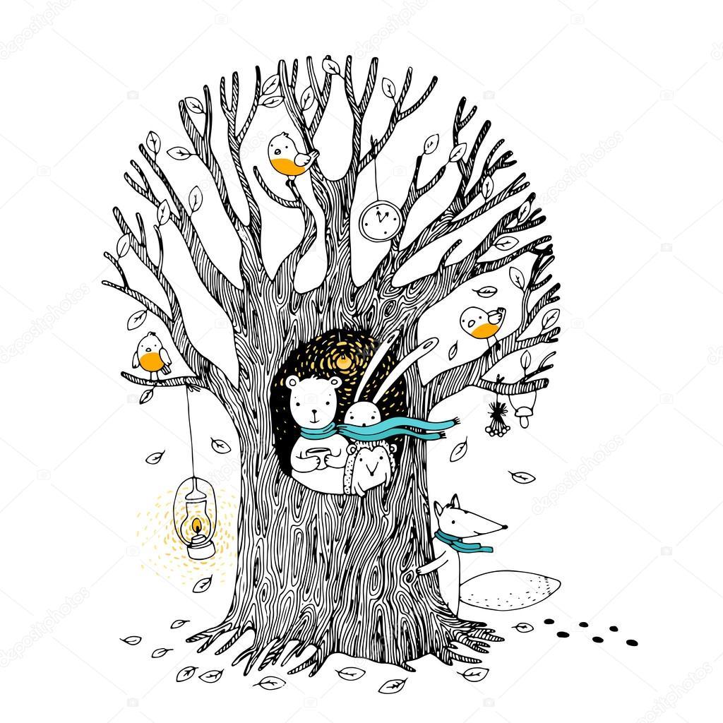 Картинка к сказке заяц и еж. Осеннее дерево, медведь, заяц ...
