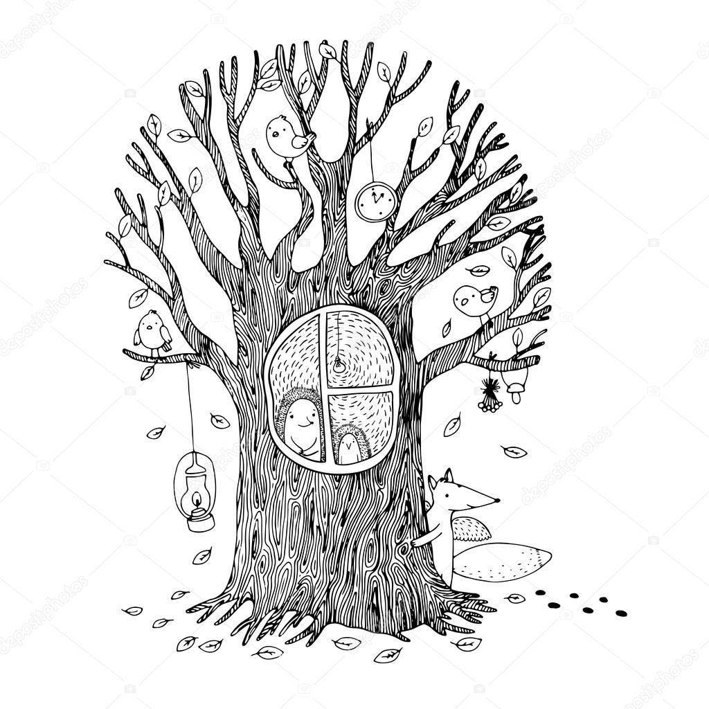 Sonbahar Ağaç Kirpi Fox Ve Kuşlar Stok Vektör Natashachetkova