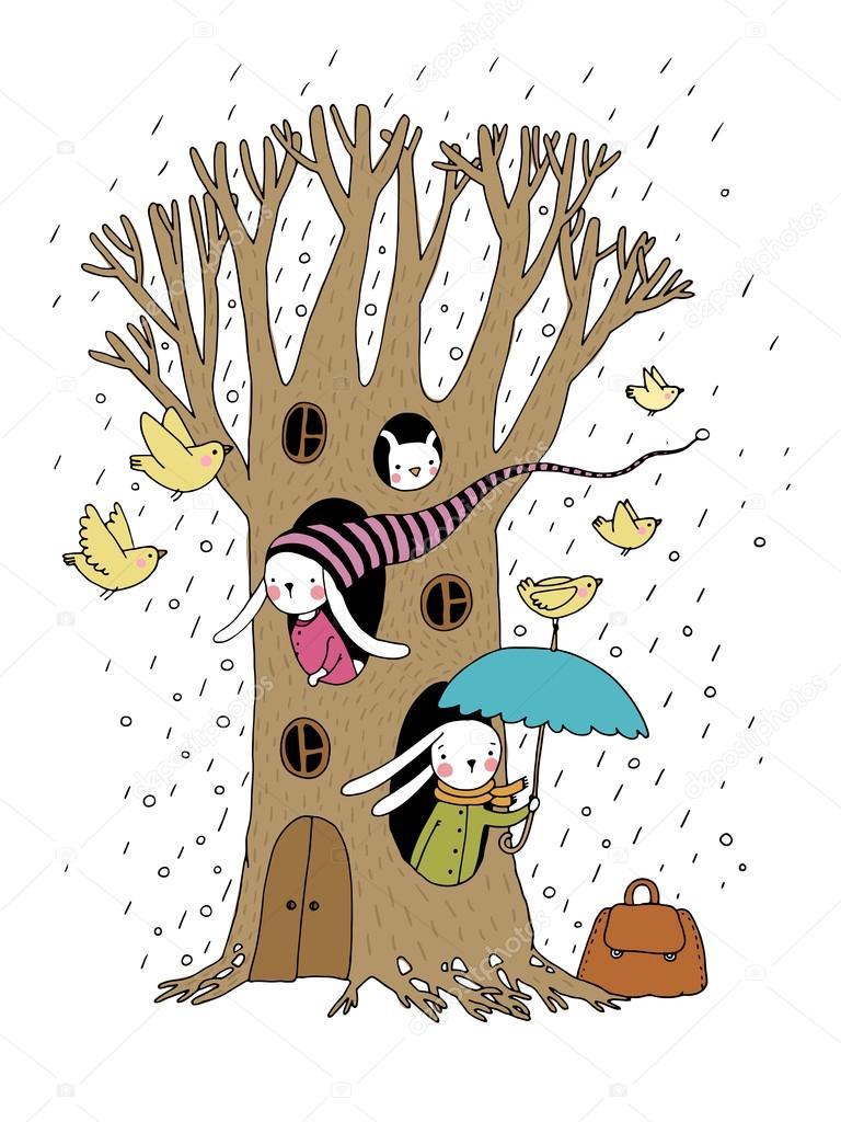 Magic Tree, rabbits and birds.