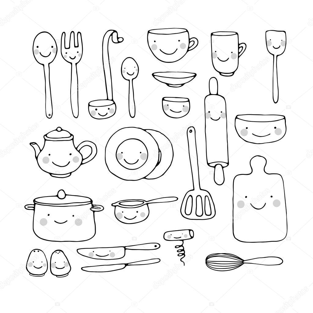 Un set di utensili da cucina vettoriali stock natasha for Oggetti da cucina