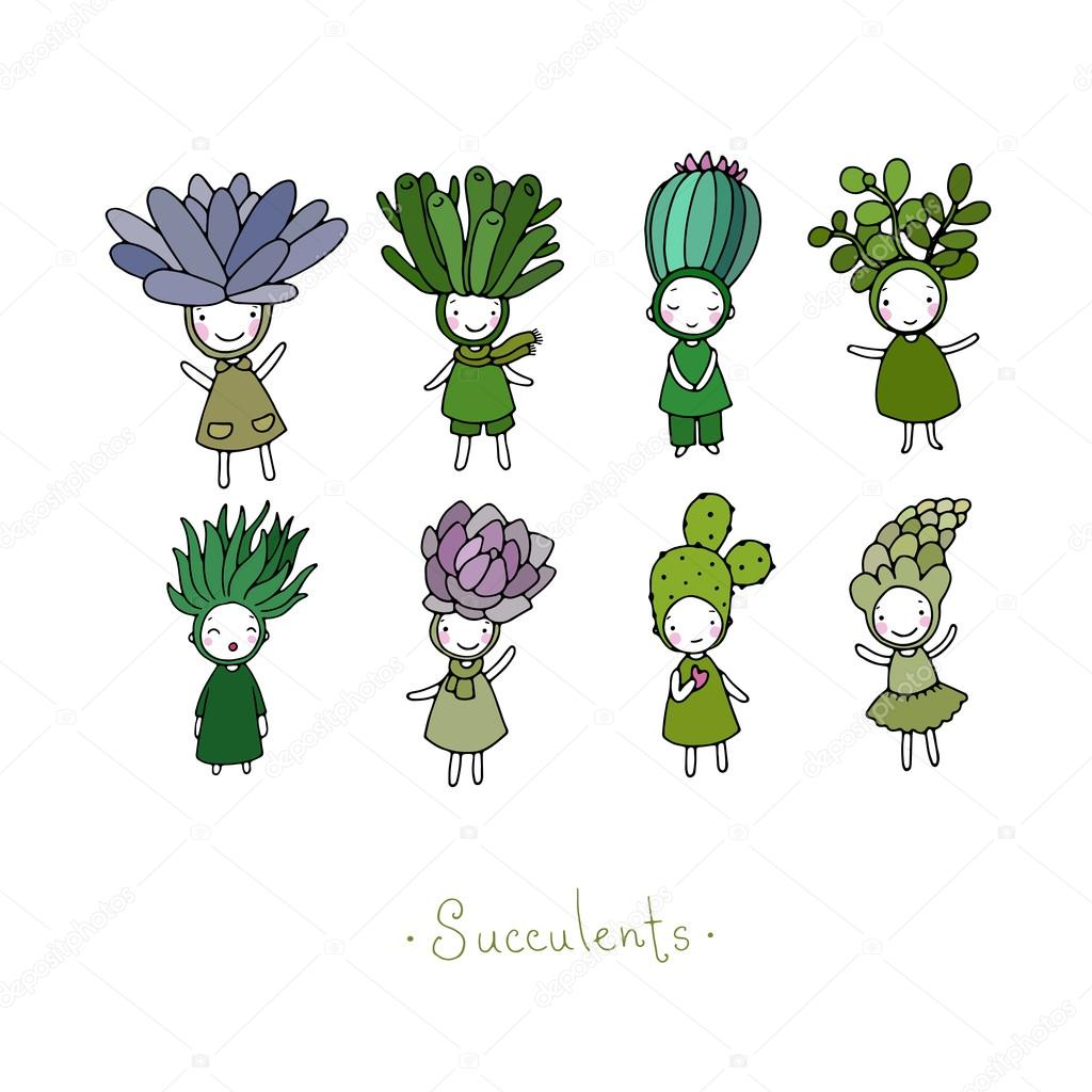 Graphic set with cute cartoon succulents.