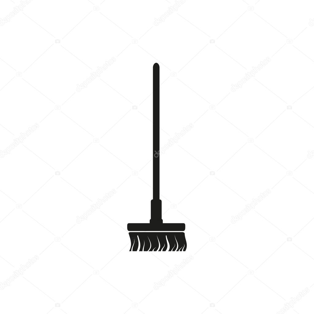 Simple minimal single vertical black Broom besom icon symbol style
