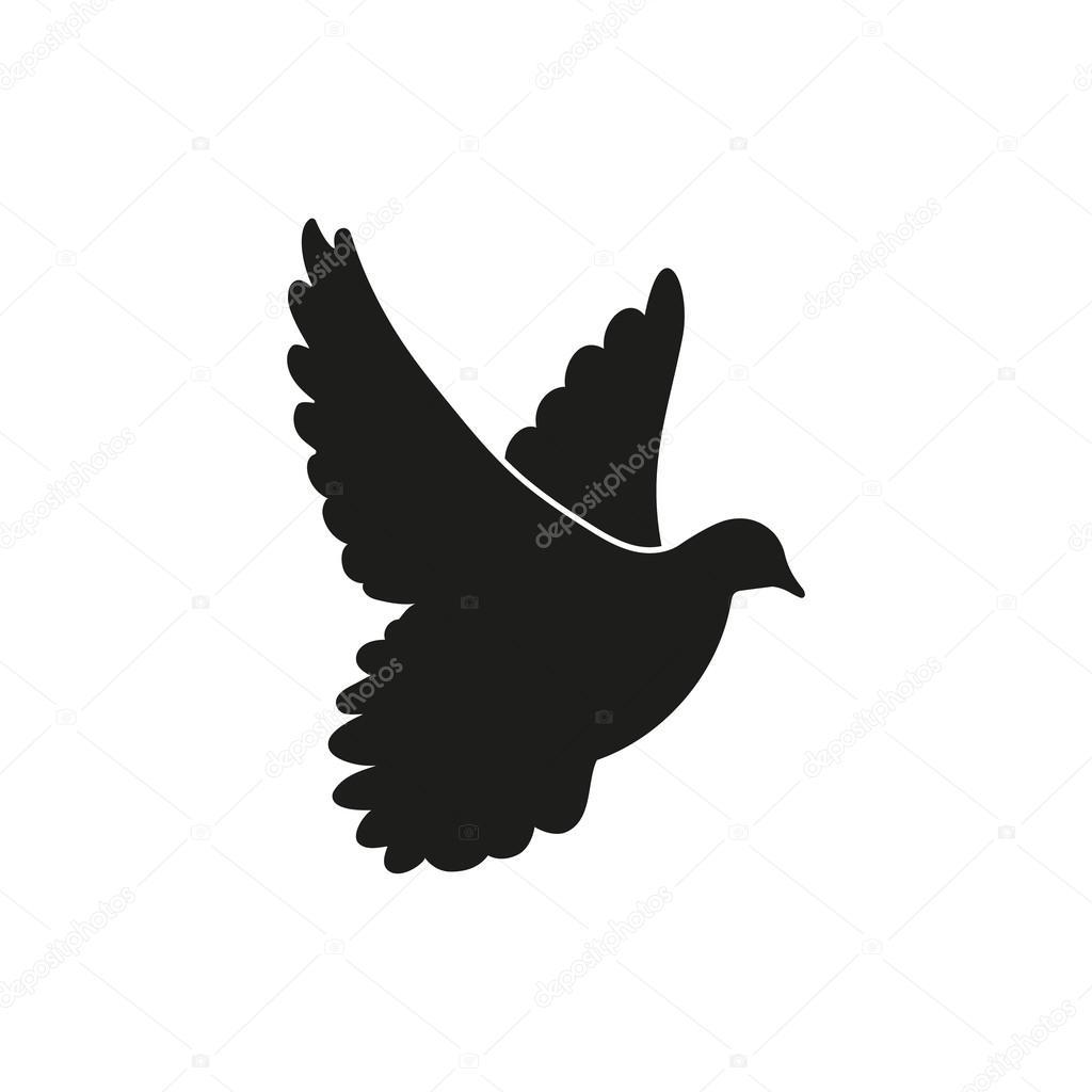 fliegende schwarze taube als symbol des friedens. Black Bedroom Furniture Sets. Home Design Ideas