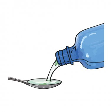 bottle pouring medicine syrup in spoon