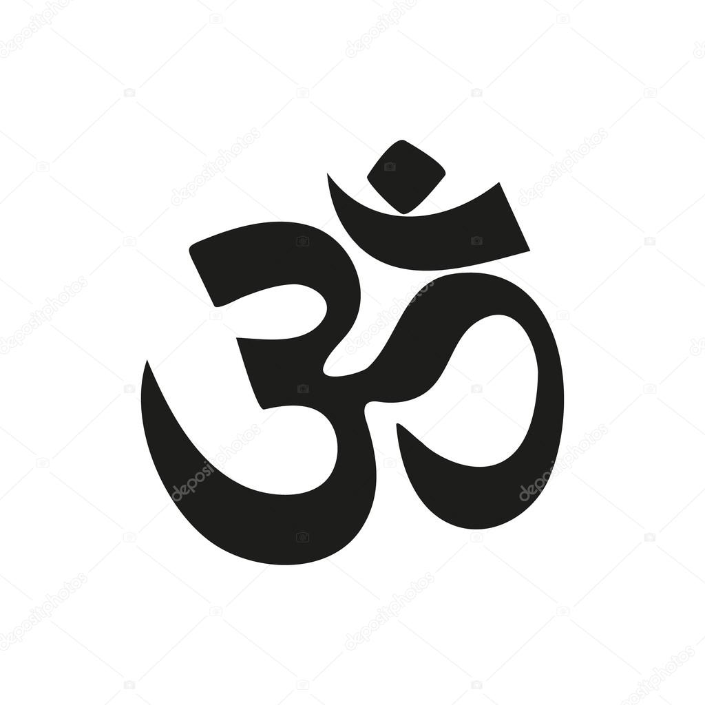 Yoga Om Sign And Symbol Simple Black Icon On White Background Stock Vector
