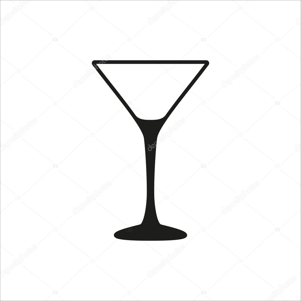 6e9144f0d34 Empty transparent martini glass cup icon in simple monochrome style icon on white  background — Stock