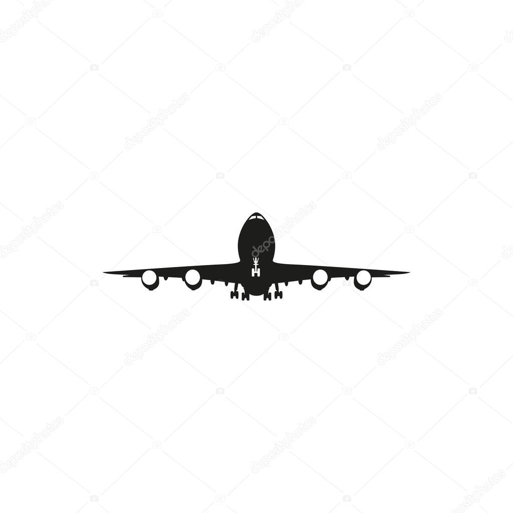 ic ne simple avion noir sur fond blanc image vectorielle 121712040. Black Bedroom Furniture Sets. Home Design Ideas