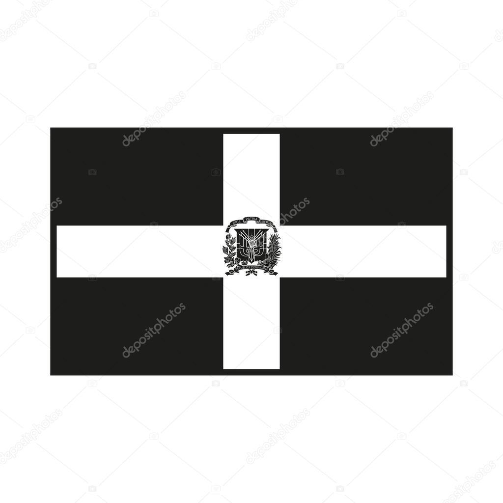 Dominican Republic Flag Black And White