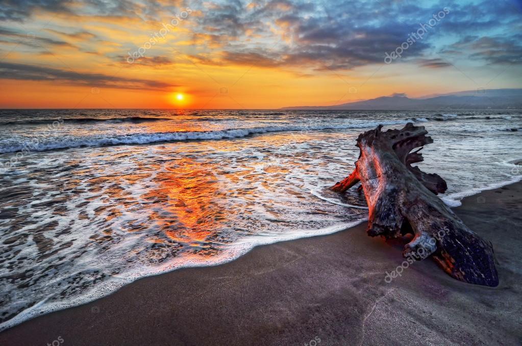 sandy shore at sunset