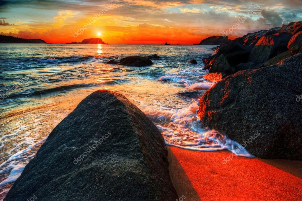 Colorful ocean bay sunrise