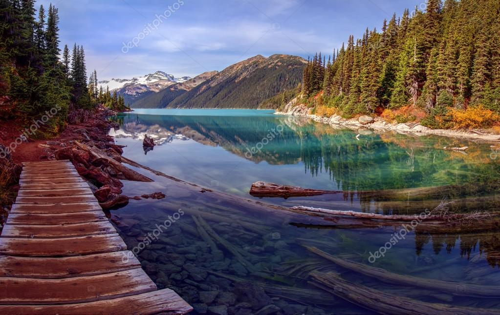 Wooden walkway along lake