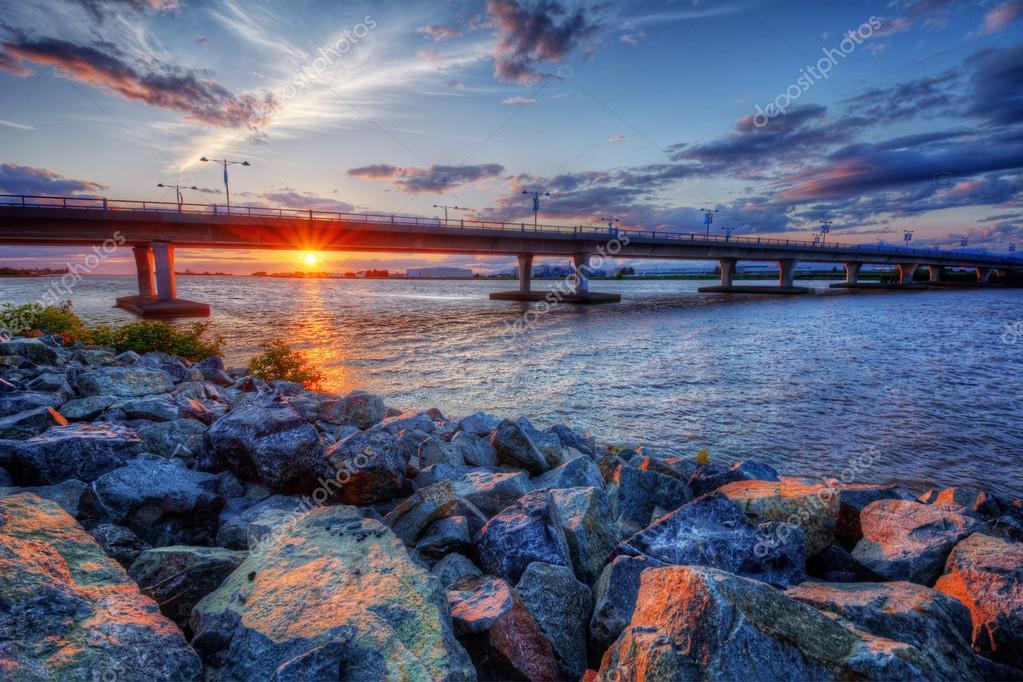 View of a bridge silhouette