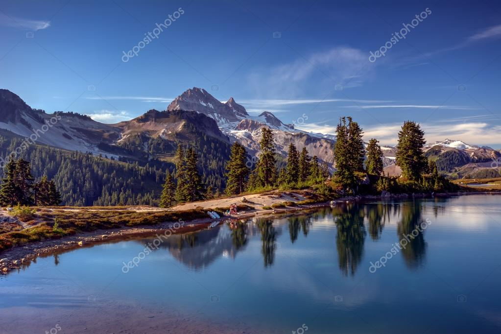 Mountain lake with a perfect reflection