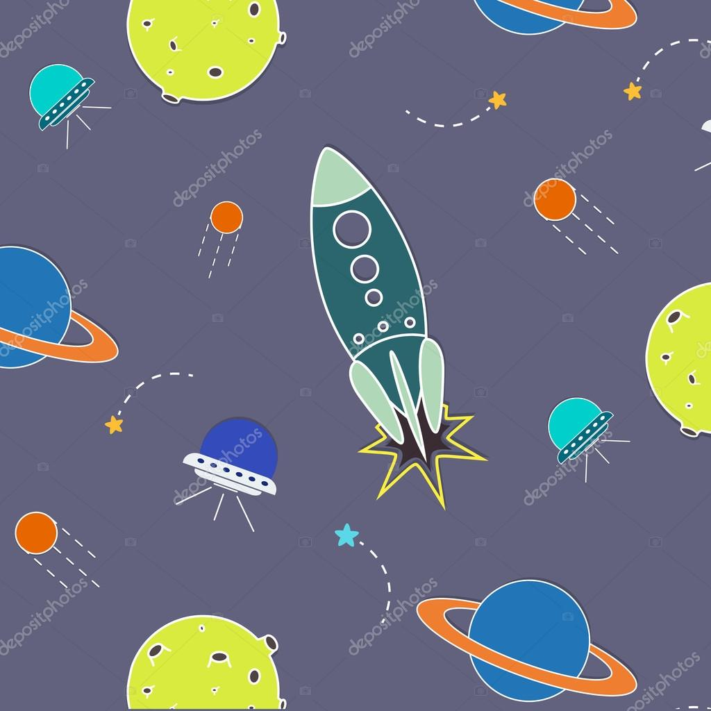 Vector space pattern. Illustration with rocket, aliens, shuttle, planet and stars. Astronomy background. Planet cartoon objects.