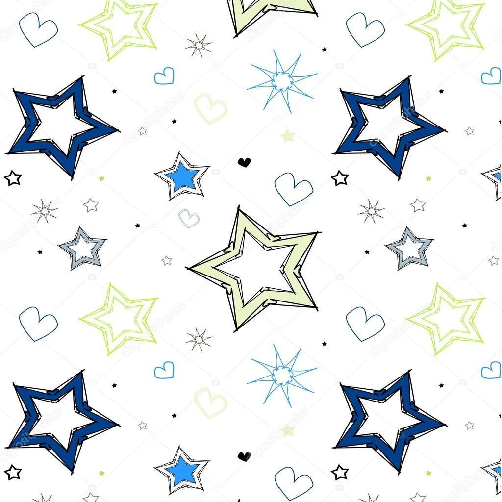 estrellas corazones azul verde niños patrón — Archivo Imágenes ...