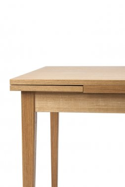 the wood desk(table) isolated white.