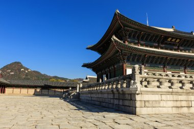 korean traditional wood house in royal palace in seoul, korea.