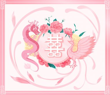Chinese wedding card invitation,pink dragon ,phoenix with