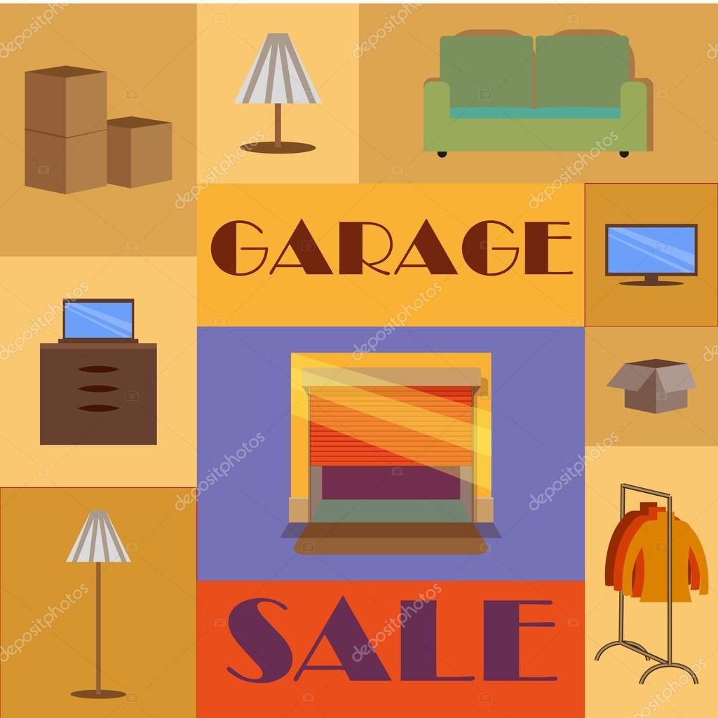Garage oder Hof verkaufen mit Schildern, Box und ...