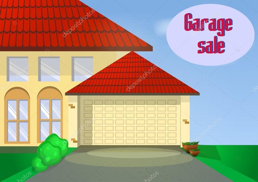 Garage o Yard Sale con signos, caja y artículos para el hogar ...