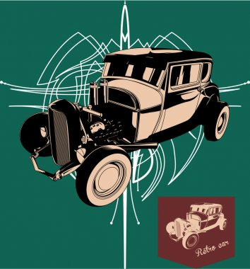 Hot rod. Retro car. Vector vintage poster