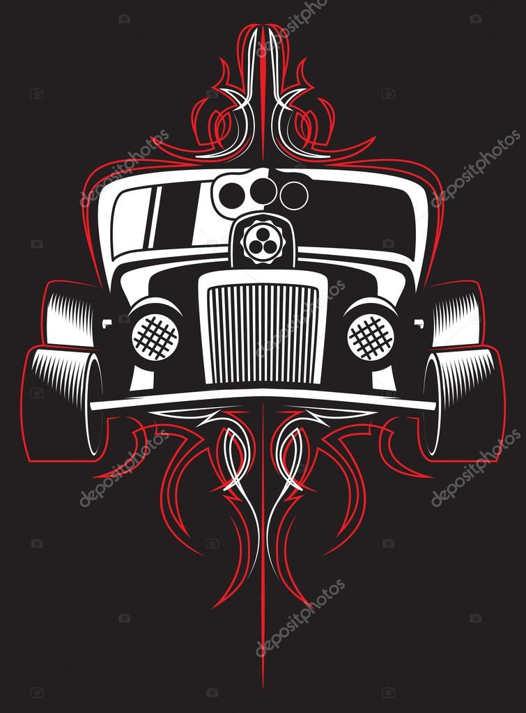 Hot Rod Retro Car Pinstripes Vector Stock Vector C Mightyrabittcrew 93745904