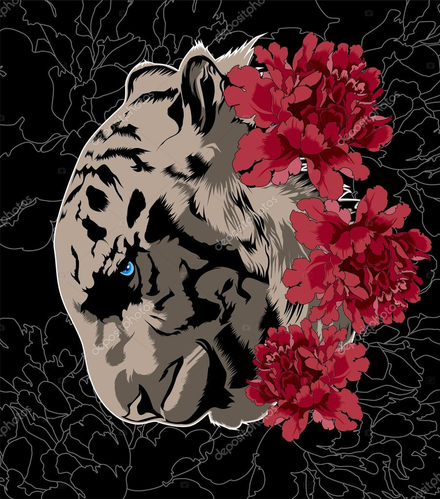 Tiger with flowers. Vector poster