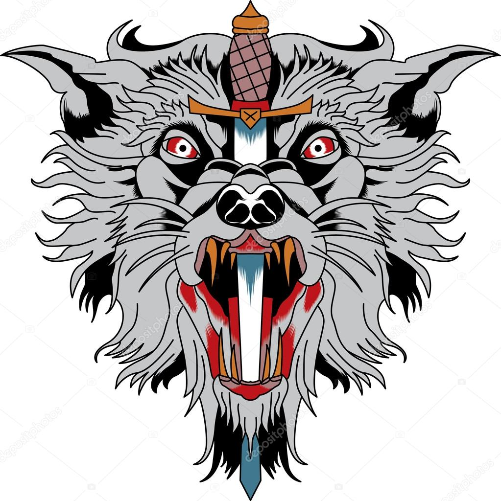 wolf head with knife, vector tattoo